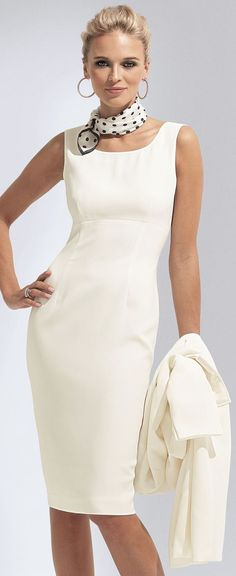 Wonder if I could pull this off - white sheath dress and scarf around the neck. must have dangle earrings.: