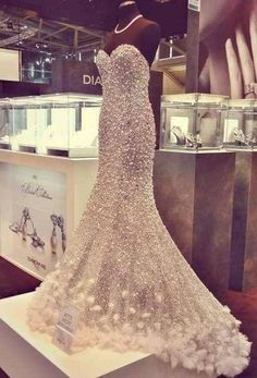 Fitted Glitter Wedding Dress with a Sweetheart Neckline