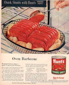 images of barbecue spam recipes Spam Recipes, Retro Recipes, Old Recipes, Vintage Recipes, Cooking Recipes, 1950s Recipes, Creepy Food, Gross Food, Antigua