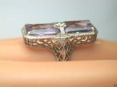 Antique Art Deco Amethyst Filigree Vintage Ring 14K SZ-4.5 UK-I  Estate Engraved