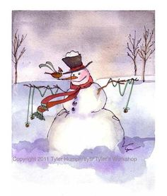 Snowman Card, Snowman Art, Snowman Greeting Card, Snowman lllustration Winter Watercolor Painting Print