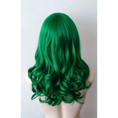 Green wig. Irish green wig. Dark green hair. Emerald green hair. ($80) ❤ liked on Polyvore featuring beauty products, haircare and hair styling tools
