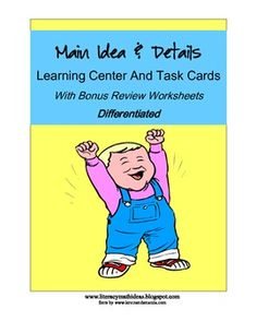 COMMON CORE ALIGNED!!!Are you looking for main idea resources at different reading levels? You have come to the right place.     This document contains THREE SETS OF TASK CARDS. Set A is for students reading at first and second grade levels. Set B is for students reading at third through fifth grade levels.  Set C encourages critical thinking.  Click the image.