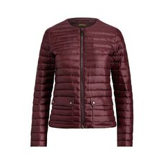Polo Ralph Lauren Full-Zip Down Jacket (€210) ❤ liked on Polyvore featuring outerwear, jackets, collarless jacket, slim jacket, ralph lauren jacket, slim fit down jacket and down filled jacket