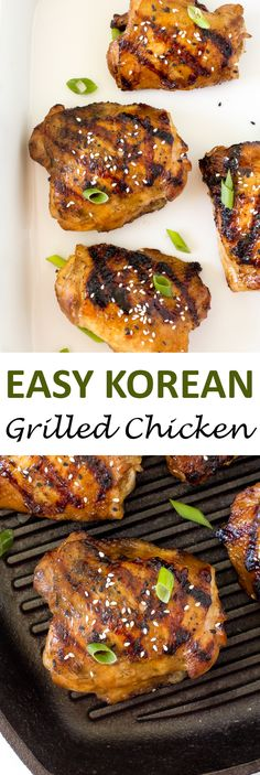 Korean Grilled Chicken. Marinated and grilled until crispy on the outside and juicy on the inside! | chefsavvy.com #recipe #chicken #korean #grilled