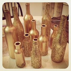 gold glitter branch centerpiece | ... You now have a fancy collection of gold glitter centerpiece bottles Wine Bottle Centerpieces, Glitter Centerpieces, Branch Centerpieces, Diy Party Table Centerpieces, Vases, Table Decorations, New Years Wedding, Prom Decor, Wedding Decoration