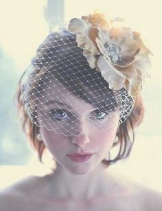 Wedding Short Hairstyles for Women---Like the idea of the flower/bird cage headpiece,