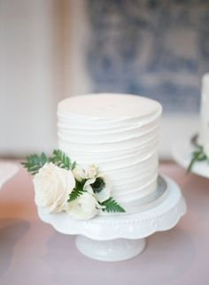 Anemone and rose wrapped wedding cake: Photography: Hello Blue Photo - www.hellobluephoto.com   Read More on SMP: http://www.stylemepretty.com/california-weddings/2017/03/01/rancho-las-lomas-wedding/