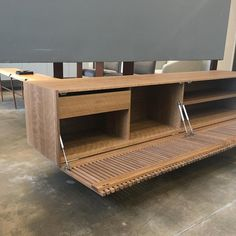 'Athena' Woodwork Natural Walnut TV Holder and Media Credenza with Drawer Tv Furniture, Italian Furniture, Furniture Making, Furniture Design, Tv Holder, Drawers For Sale, Living Room Tv Unit Designs, Tv Wall Decor, Wood Slats