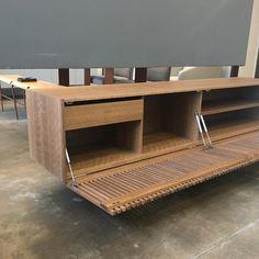 'Athena' Woodwork Natural Walnut TV Holder and Media Credenza with Drawer Furniture Making, Diy Furniture, Furniture Design, Tv Holder, Drawers For Sale, Living Room Tv Unit Designs, Tv Wall Decor, Wood Slats, Deco Design