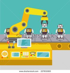 Robotic arm assemble line mechanic manufacturing factory robot operator…