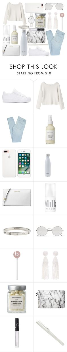 """""""White Sneakers"""" by angelina188 ❤ liked on Polyvore featuring adidas Originals, Monki, Marc by Marc Jacobs, French Girl, Michael Kors, Cartier, Linda Farrow, Beats by Dr. Dre, Oscar de la Renta and Casetify"""