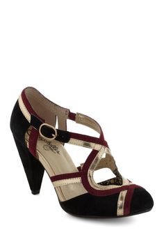 Petunia Heel in Wine by Seychelles - Black, Red, Gold, Solid, Mid, Leather, Holiday Party, Party, Vintage Inspired