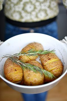 Garlic and Rosemary Roasted Hasselback Potatoes | Lauren Caris Cooks