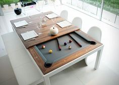Pool table that converts to dining table! Not having enough space is no longer an excuse for not getting that elusive pool table- eat then play- for the perfect night in with mates!!