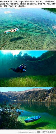 Flathead Lake, Montana (USA) // very clear water, 370 feet deep