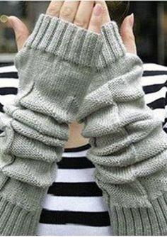 Solid Knitted Fingerless Gloves