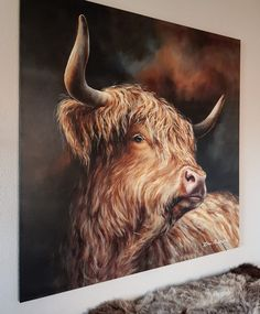 Cute Baby Cow, Baby Cows, Scottish Highland Cow, Highland Cattle, Oil Painting Tips, Cow Art, Bison, Sheep, Photo Art