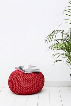Red Knitted Bean Bag Chair