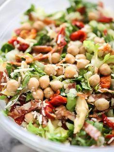 Italian Chopped Salad with Marinated Chickpeas on foodiecrush.com