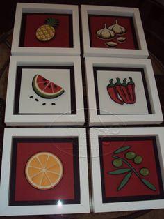 Série completa dos quadros feitos em 3D , para decoração de restaurantes, copa, cozinha, sala de almoço.  Tamanhos diferenciados.