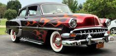 American Muscle Cars with Flames | 1954 Chevrolet 210 Custom Coupe Old School Hot Rod For Sale