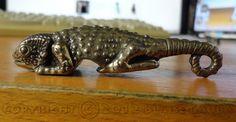 Chameleon Bottle Opener cast in Solid by BlaiseGaubaSculptor, $29.00