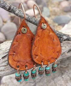 Leather Teardrop Earrings Hand Tooled by HeartofaCowgirl on Etsy