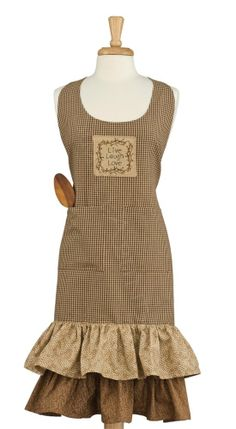 Shades of Brown Apron by Park Designs, Emb. Appliqué Patch, One Size Fits Most Cafe Apron, Waist Apron, Kitchen Aprons, I Can Do It, Country Primitive, Attic, Cold Shoulder Dress, Diy Crafts, Shades