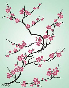 Cherry Blossom Japanese Stencil Design from Stencil Kingdom