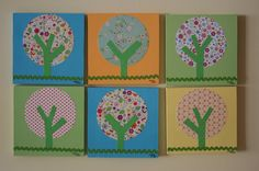 Boutique Pottery Barn Brooke Inspired Tree Multi-Media Art Painting, Acrylic and Paper , Cute Green/Pink 8 X 8 MDF Square
