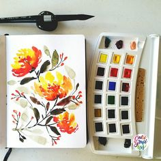 Free flow florals to try out my brush #calligrafikas #watercolor  Paper: Monologue sketchbook A5 Paint: Van Gogh watercolors: Brush: Silver Brush Black Velvet round no.16