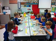 this assembly line with snack mix helps students in studyin about wants & needs, goods & services, and producers & consumers. It fits very well into an economics unit. I like this idea because it is hands on and interactive. J.C. I would use this activity with 1st grade students.
