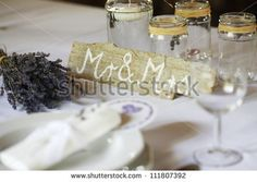 The Groom's and the Bride's places at the wedding table