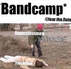 Okay low key me with my section after this year's camp >> our band camp wasn't that bad this year, lol, mostly bc the freshmen knew how to listen to directions and were mostly fit Marching Band Jokes, Marching Band Problems, Flute Problems, Band Puns, Band Nerd, Music Jokes, Music Humor, Funny Music, Color Guard Memes
