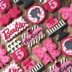 Barbie cookies for an awesome 5th birthday! . . . . . . . . #decoratedcookies #customcookies #royalicing #cookies #barbie #barbiecookies #cookiesofinstagram #cookiestagram #birthday #party #birthdaycookies