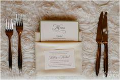 Suzanna March Photography #AldenCastle #ModernVintage #Wedding #Details #PlaceSetting #Linens #MenuCards