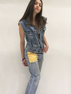 Denim Overall Jumpsuit LOLA DARLING Lee Jacket, Levi's 517 Vintage Jeans Recovered, Yellow and Gray Fabric Patch, on Back Authentic Drawing di loladarlingirl su Etsy