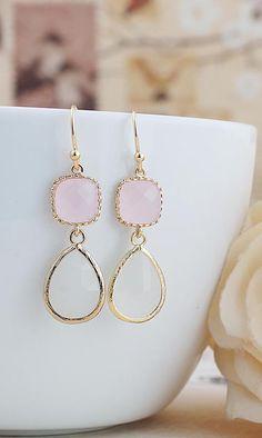Pink Opal and White Opal glass drops earrings from EarringsNation Pastel Weddings Pink weddings