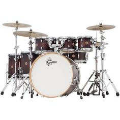 Gretsch 2014 Catalina Maple 6-Piece Shell Pack with Free Additional 8 inch Tom, Satin Deep Cherry Burst, Red