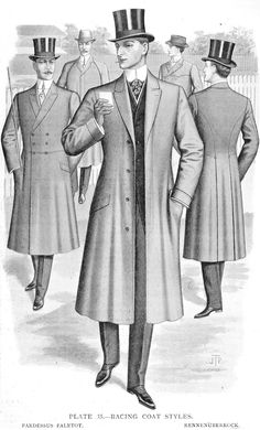 9. This image from The International System by J.P Thorton from around 1911. The Racing Coat or Paletot - The Coatmaker's Forum - The Cutter and Tailor. Shows a men's frockcoat shows the change from the very nipped in waist, to a looser fit of bustle and early 1900's.
