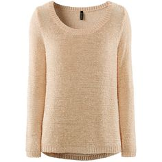 H&M Jumper (£15) ❤ liked on Polyvore featuring tops, sweaters, h&m, jumpers, shirts, powder beige, beige sweater, long sleeve sweater, long sleeve jumper and long sleeve shirts