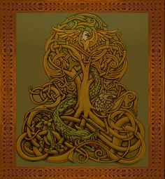 YGGDRASIL, in norse mythology, is the tree which connects the 9 worlds (planets in our solar system). On it's roots gnaws the dragon Níðhöggr, representing the flow of time, and the aging of all things. In it's branches lives an eagle who exchanges insults with the dragon. During the time Níðhöggr response to these, the Norns (3 goddesses of fate) heal some of the damage, by watering the roots with the water from the well of Urd, the source of time.