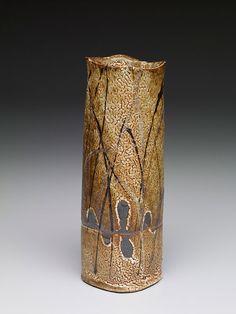Randy Johnston Square vase, crackle shino glaze with handprint resist and overglaze brushwork Stoneware