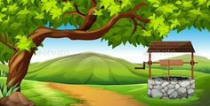 Scene with Stone Eell in the Field by BlueRingMedia Scene with stone well in the field illustration