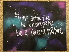 Galaxy canvas with a Grey's Anatomy quote.