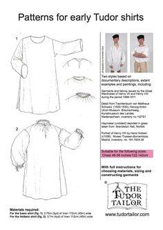 Pattern for Men's Early Tudor Shirts - Small Sizes Elizabethan Fashion, Tudor Fashion, Elizabethan Dress, Tudor Costumes, Medieval Costume, Renaissance Men, Renaissance Clothing, Hans Holbein, Historical Costume