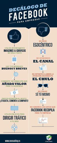 Decálogo de Facebook para empresas. Infografia en español. #CommnityManager