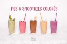 Mes 5 smoothies colorés Blender Recipes, Healthy Recipes, Smothie Bowl, Bowl Cake, Fish And Meat, Cheat Meal, Fitness Nutrition, Fun Drinks, Diy Food