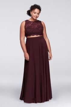 Scalloped Top Two-Piece Burgundy Plus Size Prom Dress from Davids Bridal Grad Dresses Short, Prom Dresses For Teens, Plus Size Prom Dresses, Beach Dresses, Fall Dresses, Long Dresses, Formal Dresses, Two Piece Wedding Dress, Two Piece Dress